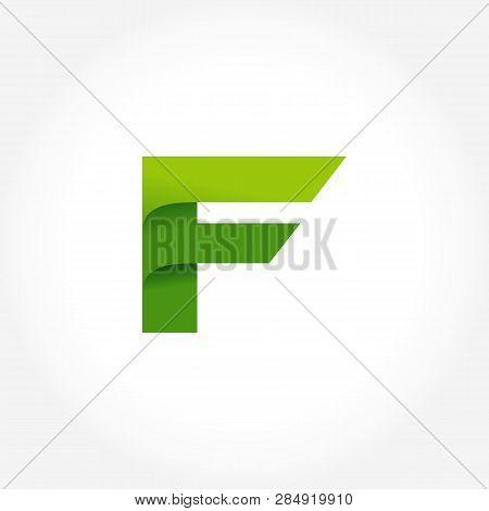 Letter F Green Logo Template. Alphabet Logotype Designs
