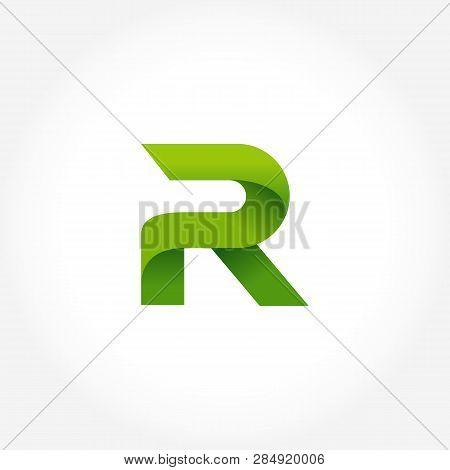 Letter R Green Logo Template. Alphabet Logotype Designs