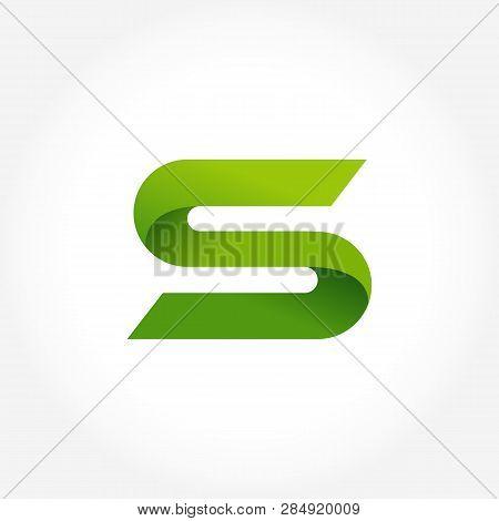 Letter S Green Logo Template. Alphabet Logotype Designs