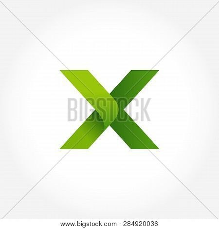 Letter X Green Logo Template. Alphabet Logotype Designs