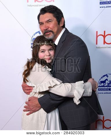 LOS ANGELES - FEB 17:  Lou Diamond Phillips and Indigo Sanara Phillips arrives for the Hollywood Beauty Awards 2019 on February 17, 2019 in Hollywood, CA