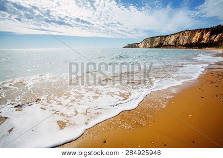 View of the azure sea on a sunny day. Location place Island Sicily (Sicilia), Natural Reserve Foce del Fiume Platani, Italy, Europe. Scenic image of the exotic scene. Discover the beauty of earth.