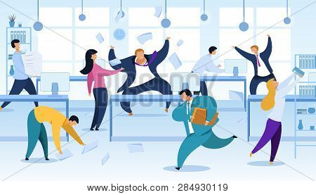 Work Rush, Office Chaos, Flat Vector Illustration. Busy, Stressed, Nervous Office Workers Fussing. A