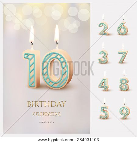 Burning Number 10 Birthday Candles With Birthday Celebration Text On Light Blurred Background And Bu