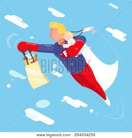 Super Hero Modern Father Flying Sky Clowds Child In Hand Character Flat Design Vector Illustration