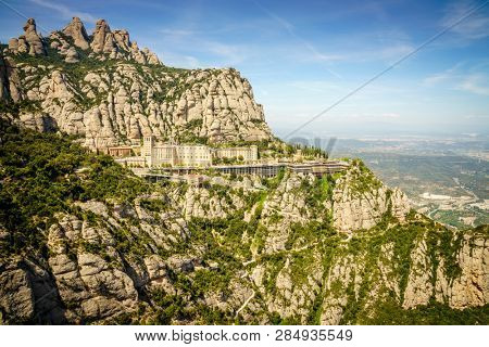 Monastery of Santa Maria de Montserrat on the mountain of Montserrat in Catalonia, Spain