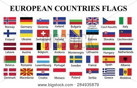 European Countries Flags With Countries Names. Fourty European Countries Flags With Names Drawing By
