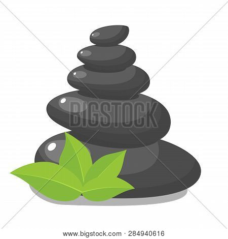 Stack Black Hot Stones With Leaves, Spa Salon Accessory. Stack Basalt Stones For Hot Stone Massage I