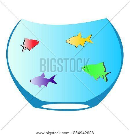 Illustration Of Fishbowl Acquarium With Multi Colored Fish