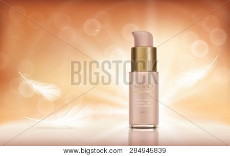 Cosmetic Realistic Vector Ads Banner With Foundation For Perfect Makeup, Decorative Cosmetics. Liqui