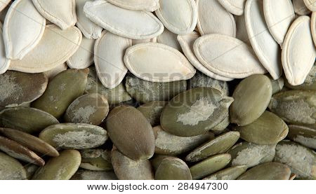 Close Up Of Organic And Healthy Pumpkin Seeds
