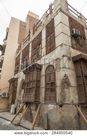 Old City In Jeddah, Saudi Arabia Known As Historical Jeddah. Ancient Building In Unesco World Herita