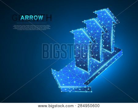 Arrow Growth, Success, Team Work Sign. Three Arrows Goes Up From One Arrow Wireframe Digital 3d Low