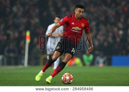 MANCHESTER, ENGLAND - FEBRUARY 12 2019: Jesse Lingard of Manchester United during the Champions League match between Manchester United and Paris Saint-Germain at Old Trafford Stadium.