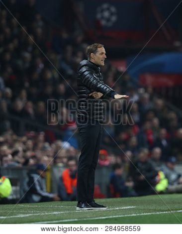MANCHESTER, ENGLAND - FEBRUARY 12 2019: Thomas Tuchel Manager of PSG during the Champions League match between Manchester United and Paris Saint-Germain at Old Trafford Stadium.