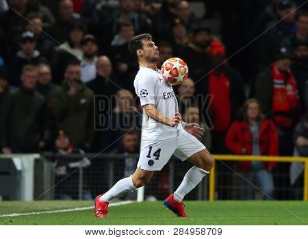 MANCHESTER, ENGLAND - FEBRUARY 12 2019: Juan Bernat of PSG during the Champions League match between Manchester United and Paris Saint-Germain at Old Trafford Stadium.