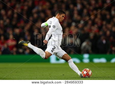 MANCHESTER, ENGLAND - FEBRUARY 12 2019: Thiago Silva of PSG during the Champions League match between Manchester United and Paris Saint-Germain at Old Trafford Stadium.