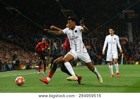 MANCHESTER, ENGLAND - FEBRUARY 12 2019: Presnel Kimpembe of PSG  during the Champions League match between Manchester United and Paris Saint-Germain at Old Trafford Stadium.