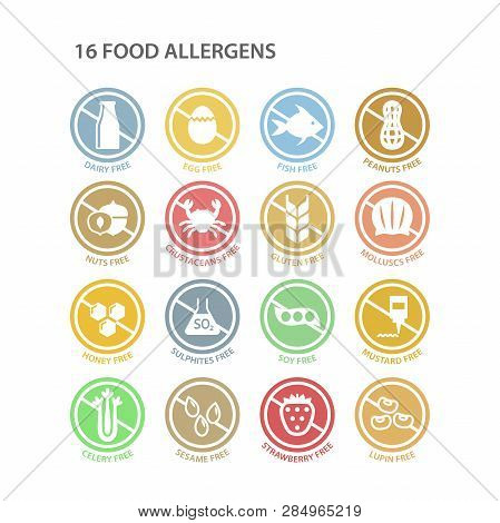 Allergens Free Circle Colorful Ingredients Label Set. Soy Free, Dairy Free, Gluten Free Pastel Color