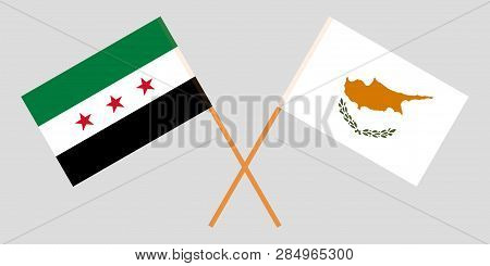 Syria And Cyprus. The Syrian National Coalition And Cyprian Flags. Official Proportion. Correct Colo