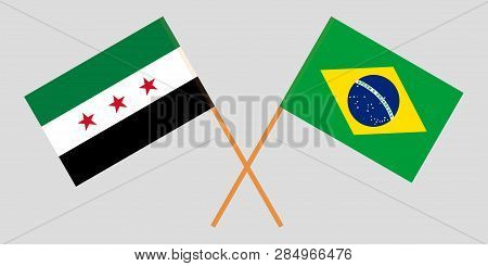 Syria Opposition And Brazil. The Syrian National Coalition And Brazilian Flags. Official Proportion.