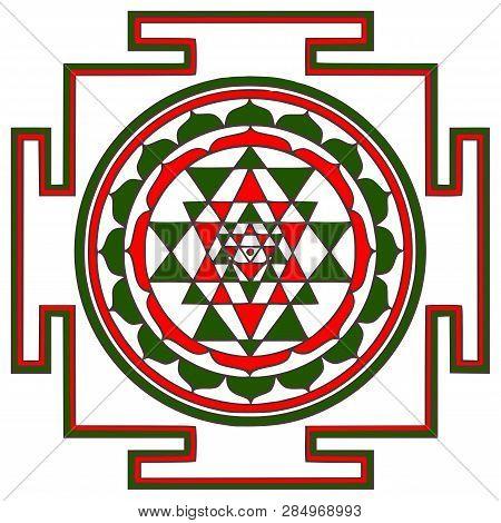 Sri Yantra Chakra Tantra Spirituality Esoteric Zen Illustration
