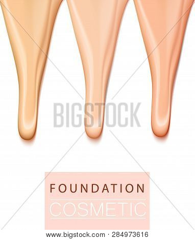 Foundation Liquid Treecolor Texture, Creamy Skin Tone Foundation In 3d Illustration, Extreme Close U