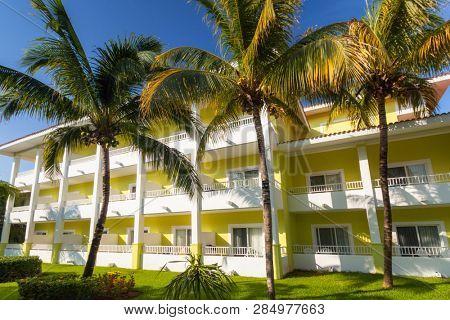 Playa Del Carmen, Mexico - July 17, 2011: Architecture of tropical resort RIU Playacar in Playa del Carmen, Mexico. RIU Hotels & Resorts has more than 100 hotels in 19 countries
