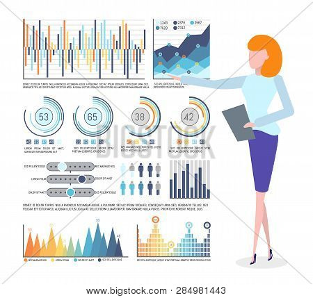 Statistical Data And Infographics, Business Graphics Vector. Chart And Diagram, Flowchart And Popula