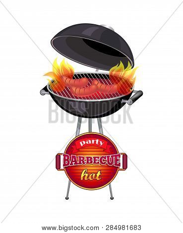 Party Barbecue Hot Poster With Text. Mangal Roaster With Frankfurters Roasting On Grill Griddle. Bra