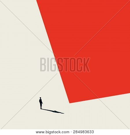 Burnout Syndrome Business Vector Abstract Concept. Lonely And Depressed Businessman In Minimalist Ar