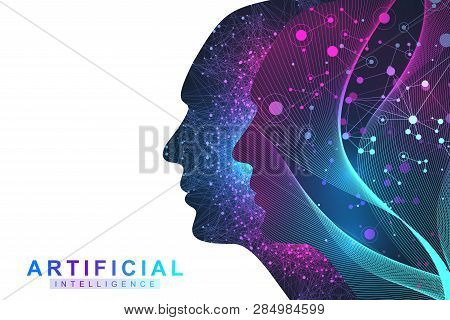 Futuristic Artificial Intelligence And Machine Learning Concept.. Human Big Data Visualization. Wave