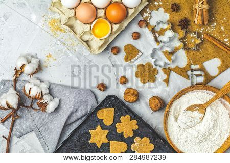 Culinary Spring Or Christmas Food Background. Ingredients For Ginger Cookies. Dough For Baking. View