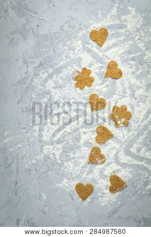 Raw Homemade Uncooked Ginger Cookies Over Light Gray Concrete Surface. View From Above, Copy Space F