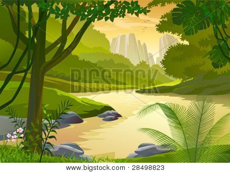 TROPICAL RAIN FOREST TREES AND FRESH WATER STREAM