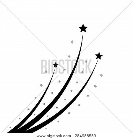 Abstract Star Soars Up. Black Star Soaring With Elegant Star Trail On White Background - Meteorite,