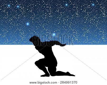 Atlas Titan God Holds Sky Silhouette Ancient Mythology Fantasy. Vector Illustration.