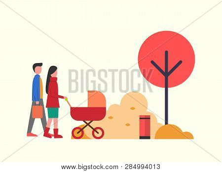 People In Autumn Park, Family Walking Around Trees Nature Vector. Father And Mother, Parents Of Kid