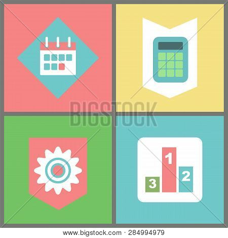 Business And Work Items Vector, Calendar And Calculator, Cogwheel Symbol And Tournament Pedestal. Or
