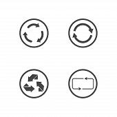 Repeat icons set. set of 4 refresh filled icons such as reload, update, reload, replay, loading arrow icons. repeat icons set poster