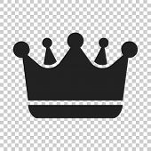 Crown diadem vector icon in flat style. Royalty crown illustration on isolated transparent background. King, princess royalty concept. poster