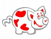 Cheerful spotty pig on a white background. poster