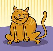 cartoon illustration of funny yellow cat sitting on the floor poster