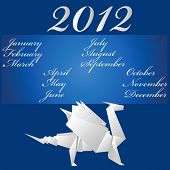 Calendar. 2012. A paper dragon on a blue background poster