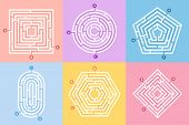Labyrinth game. Maze conundrum, labyrinth way rebus and many entrance riddle vector concept illustration set poster