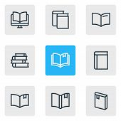 Vector illustration of 9 book icons line style. Editable set of ebook, handbook, textbook icon elements. poster