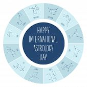 Cute International Astrology Day background with schematic hand drawn zodiac constellations poster