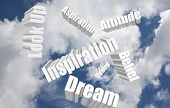 The phrase Look Up and many positive words in 3d letters such as attitude, dream, desire, belief, inspiration, aspiration to illustrate helpful and motivational activity poster