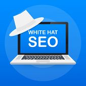 White hat seo banner. Magnifier, and other search engine optimization tools and tactics. Vector stock illustration. poster