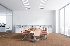 Interior Of Office Meeting Room With White Walls, Brown Carpet On The Floor, Panoramic Window And Lo